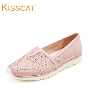 接吻猫时尚水钻羊反绒懒人鞋平底女单鞋DA76186-53