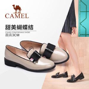 Camel 骆驼女鞋 2018春季新款 蝴蝶结乐福鞋简约套脚圆头深口休闲鞋女