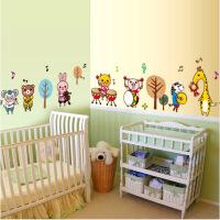 儿童房男女孩卧室幼儿园装饰布置贴画可移除卡通墙贴纸 动物乐队 动物乐队 大