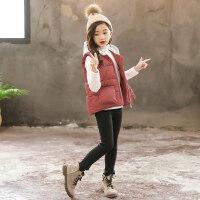 女童秋冬季韩版坎肩儿童装中大童外穿背心外套小女孩加厚连帽马甲