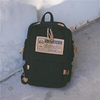 男生双肩包女士韩版休闲帆布背包大容量高中学生书包16寸电脑包潮 典雅黑 徽章