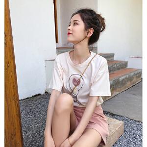 谜秀短袖T恤女2018春装新款韩版宽松学生百搭上衣薄款打底衫春潮