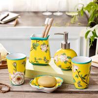 家用美式欧式卫浴五件套洗漱套装陶瓷牙杯洗浴用品浴室卫生间创意