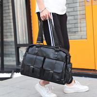 商务男士公文包手提文件包 大容量横款短途旅行包 户外百搭单肩包