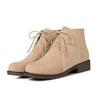 磨砂短靴女靴子女冬季2018新款系带马丁靴女英伦风学生加绒冬鞋女软底