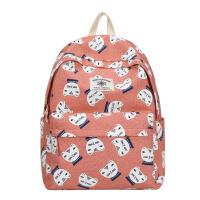 帆布双肩包女包韩版时尚包包高中初中学生书包可爱小清新旅行背包 粉色