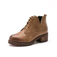如熙冬季新款系带圆头女鞋女靴复古马丁靴中跟粗跟短靴及踝靴