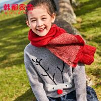 【1件3折102元】韩都衣舍童装2019冬装新款女童儿童中大童毛衣针织衫YJ9617��