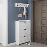 超薄白色简约现代家用超薄大容量空间翻斗鞋柜17cm进门玄关实用性