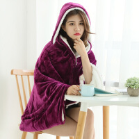 小毛毯连帽珊瑚绒冬季双层加厚披肩毯子办公室午睡披风斗篷毯 100*150cm