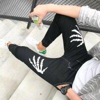 夏季青少初中学生男孩松紧腰带18牛仔长裤19薄款20岁 系绳 束脚N18黑色