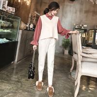 新款女装春装马甲衬衫小脚裤时髦三件套冬季套装女韩版时尚潮