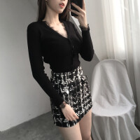 秋冬新款V领长袖针织衫毛衣蕾丝拼接打底衫+高腰粗花呢半身裙套装