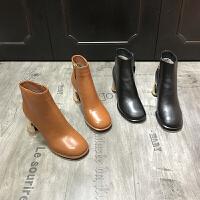 欧洲风格站2017冬季新款靴子女牛皮圆头粗跟高跟靴马丁靴加绒保暖