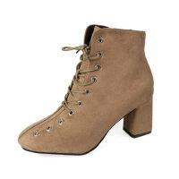 WARORWAR新品YM164-A1564冬季韩版磨砂绒粗跟高跟女士靴子短靴