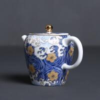 茶壶陶瓷青花泡茶壶满彩扒花功夫茶具家用茶壶 珐琅彩-茶壶