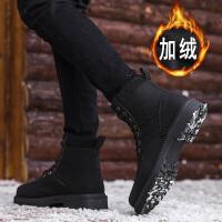 冬季男靴子马丁靴工装皮靴军靴高帮男鞋保暖加绒棉鞋中帮雪地棉靴