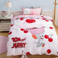 儿童纯棉三件套1米1.2m床单人 被套可爱卡通学生宿舍床上用品 白色 甜心伙伴