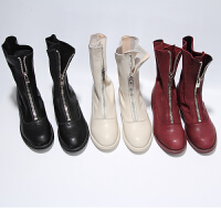 guidi短靴前拉链粗跟中筒靴百搭马丁靴女加绒网红内增高靴子