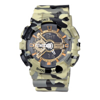 三达表迷彩户外多功能电子手表双显防水男士高档手表