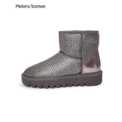 美特斯邦威女鞋新款女中筒靴加绒雪地靴202582商场同款