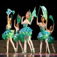 六一儿童绿色小草演出服公主裙荷塘月色茉莉花开蓬蓬裙春晓表演服 绿色 裙子 头饰 安全裤
