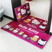 卡通可爱hello kitty儿童地垫小地毯家用卧室门垫垫子浴室防滑垫 玫红色 kitty 15加厚款