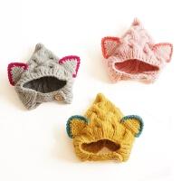 新生儿帽子保暖婴儿秋冬男女宝宝手工针织0-6-12个月毛线帽儿童帽 均码