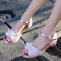 女童凉鞋2019新款韩版夏季水晶鞋儿童公主鞋高跟中大童钢琴表演鞋