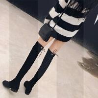 显瘦过膝长靴女2018秋冬新款瘦瘦靴平底高跟靴子长筒靴高筒过膝靴SN3847