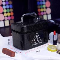 女化妆包大容量小号便携韩国简约可爱洗漱品收纳盒大号化妆箱手提 黑色 (小款)