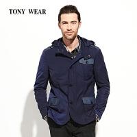 TONYWEAR汤尼威尔春季商务休闲绅士男士立领带帽外套