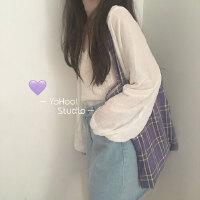 YOHOO!/chic韩系~颜色很美的购物袋书包女香芋紫/格子单肩帆布包
