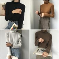 打底衫女外穿秋冬新款港味复古chic加厚套头上衣纯色修身高领t恤