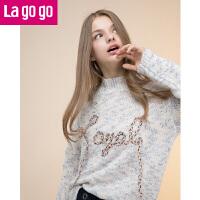 【618大促-每满100减50】Lagogo/拉谷谷2017年冬季新款时尚长袖针织衫