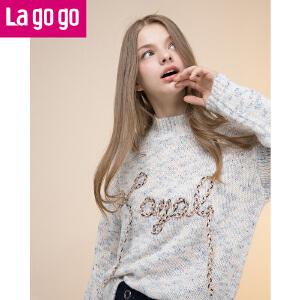 【2.20-2.26每满100减50】Lagogo/拉谷谷2017年冬季新款时尚长袖针织衫