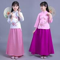 儿童旗袍春秋款 女童大童民族风复古唐装套装裙子小女孩祺袍礼服