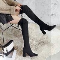 过膝靴女长靴2018秋冬季新款高筒靴粗跟弹力瘦瘦靴高跟长筒靴子SN5242