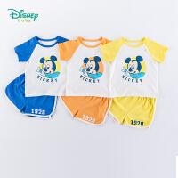 【3件3折到手价:57.9】迪士尼Disney童装 男童套装圆领肩开套头衫纯棉五分短裤两件套2020夏季新款男宝宝衣服