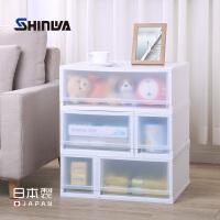 日本进口伸和塑料抽屉式收纳箱衣柜收纳柜白色整理箱储物箱收纳盒
