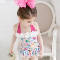 儿童泳衣女童连体裙式幼儿宝宝游泳衣碎花泡温泉泳装