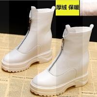 ins网红马丁靴女2018冬季新款加绒棉鞋女短靴内增高瘦瘦短筒靴子SN3736