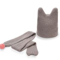 秋冬可爱保暖男童女童毛线帽子  两件套套装 宝宝  婴儿童毛线帽子围巾