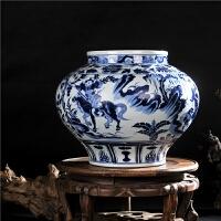 陶瓷花瓶手绘仿古元青花鬼谷子下山大罐家居装饰品客厅摆件