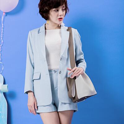 2017秋冬新款宽肩带撞色单肩斜挎手提包包女韩版个性双面水桶包拼色水桶包 时髦新花样
