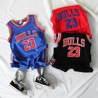 儿童背心篮球套装夏款中男童宝宝23休闲无袖上衣织带短裤子2件套