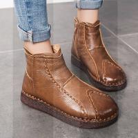妈妈棉鞋女冬季新款平底加绒保暖短靴真皮软底靴子中老年人妈妈鞋SN4420 38