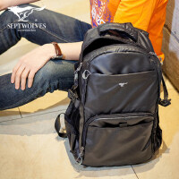 七匹狼男士背包 休闲时尚双肩包男潮流大容量旅行电脑包大学生书包