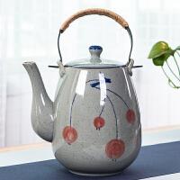 青花瓷茶壶复古防爆耐高温泡茶提梁壶饭店家用大号凉水壶陶瓷单壶