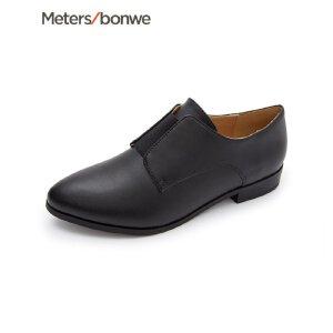 【1件1.5折到手价:59.85,9月17日0点开抢】美特斯邦威女鞋新款尖头小皮鞋女时装鞋97商场同款